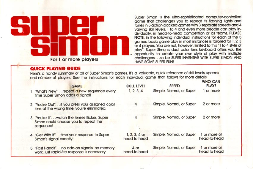 Super Simon Instructions
